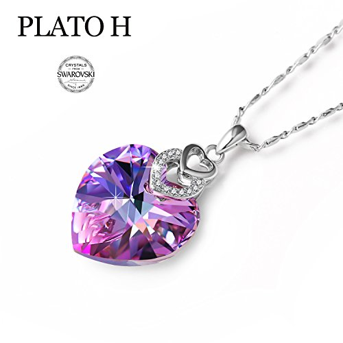 PLATO H Change Color Necklace Heart Shape Necklace Woman Jewelry Gifts Necklace Brave Heart Love Heart Pendant Necklace with Swarovski Crystal, February Birthday Stone Necklace, Purple 18