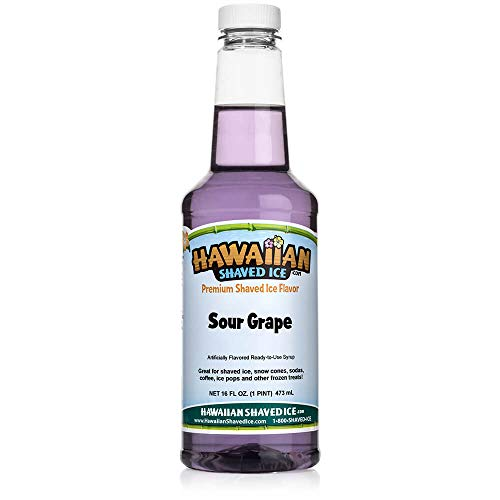 Hawaiian Shaved Ice Sour Snow Cone Syrup, Grape, 16 Fl Oz