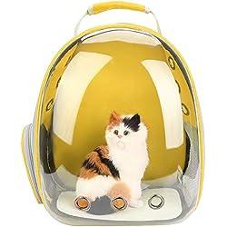 Zerodis Mochila Transparente para Gatos, con diseño de Burbuja Transpirable 360 ° Cápsula Espacial Diseño Portátil Mascota de Viaje Mochila para Gatos Perros pequeños (Amarillo)