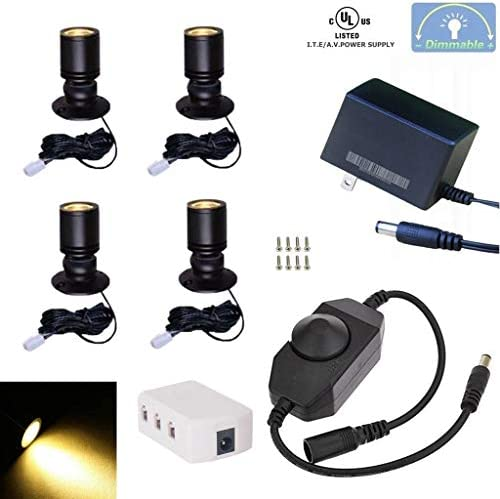 Xking Dimmable LED1.5W 12VDC Mini Spotlight Jewelry Showcase Display Lighting Fixture Black Shell Surface Mount with Online PWM Dimmer Pack-4,Warm White 3000k