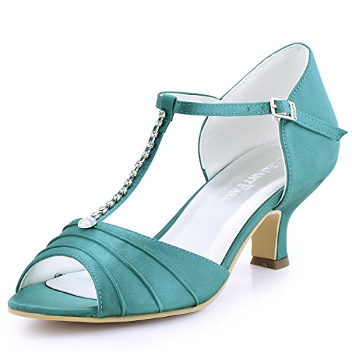 ElegantPark EL-035 Women Peep Toe T-Strap Pumps Mid Heel Rhinestones Satin Evening Prom Dress Shoes Teal US 10