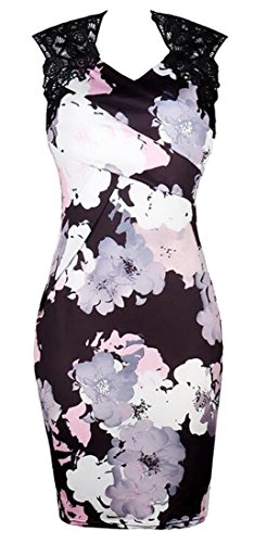 Stitching Slim Sexy Domple Picture Lace Women Floral Sleeveless Print Bodycon As Fit Dress wYnwqAIp0
