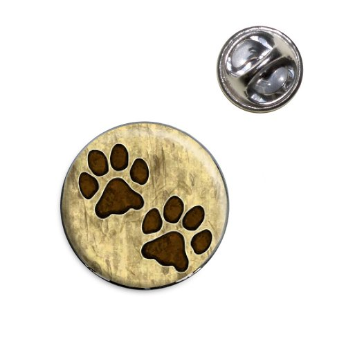 (Grungy Pet Paw Prints Lapel Hat Tie Pin Tack)