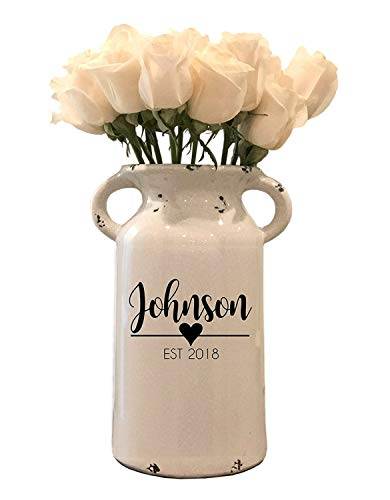 Personalized Ceramic Milk Can – Personalized Milk Can – Personalized Wedding Gifts – Farmhouse Milk Can – Housewarming Gift – Personalized Flower Vase