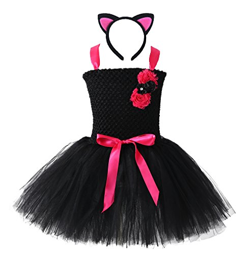 Tutu Dreams Halloween Black Cat Tutu Dress Costume for Girls 1-8t Birthday Party (catgirl, L) ()