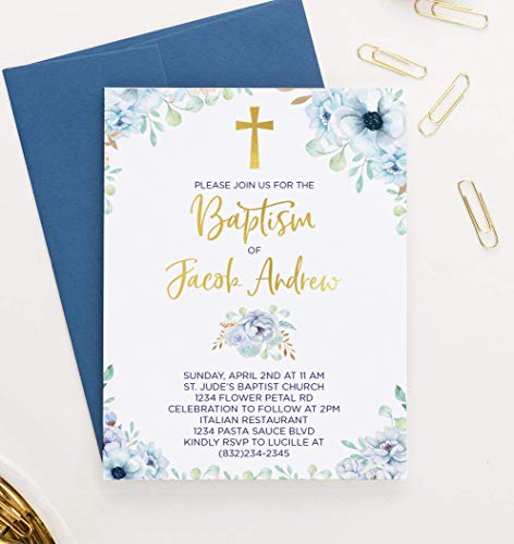 Elegant Baptism Invitations for Boys, Your choice of Quantity and Envelope Color (Communion Invitations For Twins Boy And Girl)