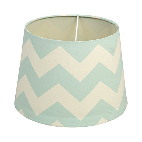 Lolli Living Lamp Shade - Aqua Zig Zag - Chevron Screen Printed Canvas Lampshade, Perfect For Baby Nursery Or Kid Room, Fits Lolli Living Lamp Base (Lolli Living Lamp)