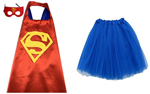 [Superhero TUTU, CAPE, & MASK - Adult Teen Plus Womens Complete Halloween Costume (Adult Size, Superman - Red &] (Marvel Heroes Costumes For Adults)