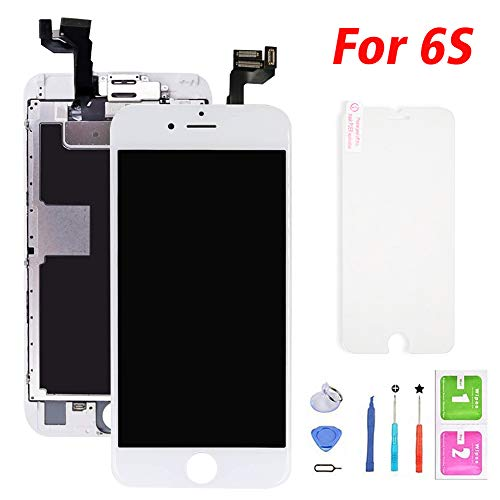 Screen Replacement for iPhone 6S White, LCD Display with 3D Touch Screen Digitizer Full Pre-Assembly Include Home Button,Front Camera,Earpiece with Repair Tools Kit (White,4.7inch)