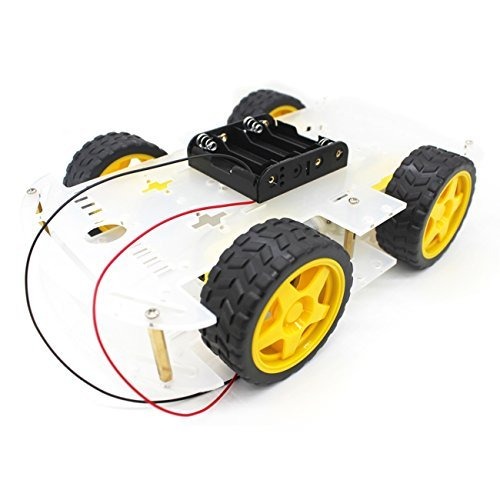 YIKESHU 4 wheels Smart Car, Robot Smart Car Chassis Kits with Speed Encoder for Arduino DIY (4 Wheels)