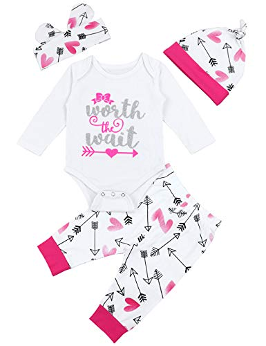 Baby Girl Clothes Worth The Wait Long Sleeve Romper + Pants Set + Hat + Headband Outfits Set(0-3 Months)