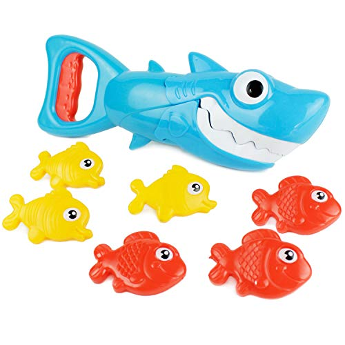 Boley Shark Grabber Bath Toy Set - Great White Shark with Teeth Biting Action - Includes 6 Sinking Fish - Bath Time Fun and Games for Kids, Children, Toddlers