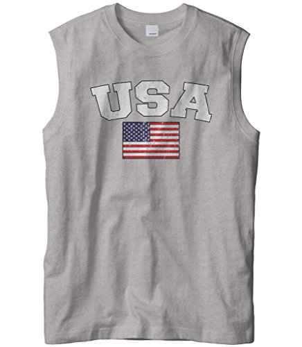 (Cybertela Men's Faded Distressed USA Flag Sleeveless T-Shirt (Light Gray, Large))