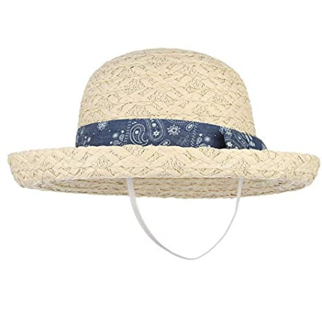 f02116c4 Image Unavailable. Image not available for. Color: ALWLj Summer Hats for  Girls Boys Curling Brim Dome Straw Hat with Bow Outdoor Travel Beach