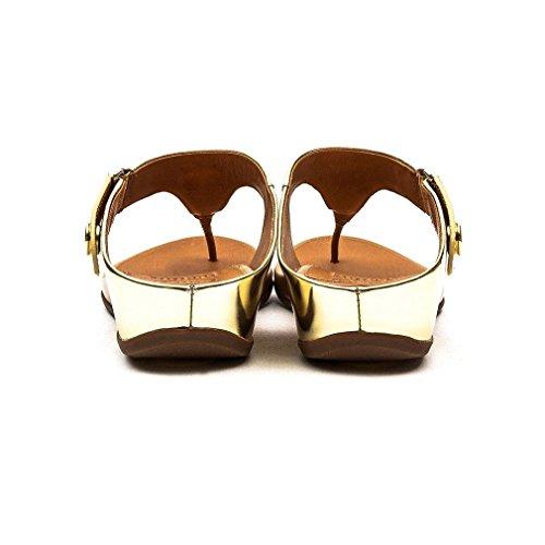 Fitflop Gladdie Toe-post Sandali Da Donna In Oro Metallizzato