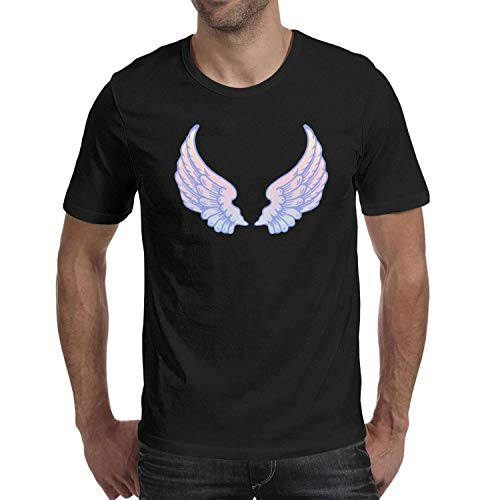 Baby Angel Wings Rainbow Art Men Cute Shirt SmoothShort Sleeve Casual Blouse Classic Gym t Shirts for Men