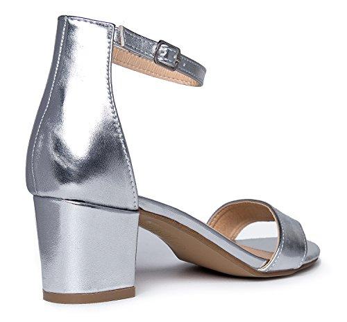 J. Adams Daisy Mid Heel Sandal, Silver PU, 10 B(M) US by J. Adams (Image #3)