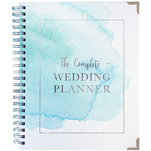 [New] Wedding Planner Watercolour - Undated Bridal Planning Diary Organizer - Hard Cover, Pockets & Online Support