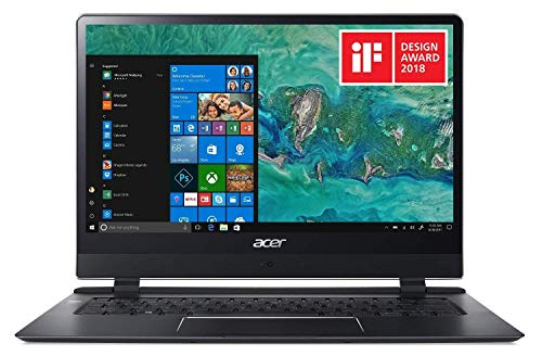 "Acer Swift 7 SF714-51T-M9H0 Ultra-Thin 8.98mm Laptop, 14"" Full HD Touch, 7th Gen Intel Core i7-7Y75, 8GB LPDDR3, 256GB PCIe NVMe SSD, 4G LTE, Windows 10, Protective Sleeve"