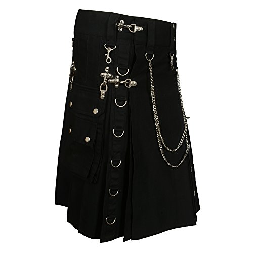 Black Fashion Gothic Kilt With Silver Chains (Belly Button 44) by Scottish Designer