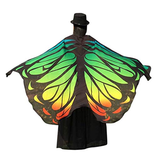 FEITONG Halloween Party Women Chiffon Soft Fabric Butterfly Wings Shawl Fairy Ladies Nymph Pixie Costume Accessory, 197x125cm(197x125cm,Green-2) -