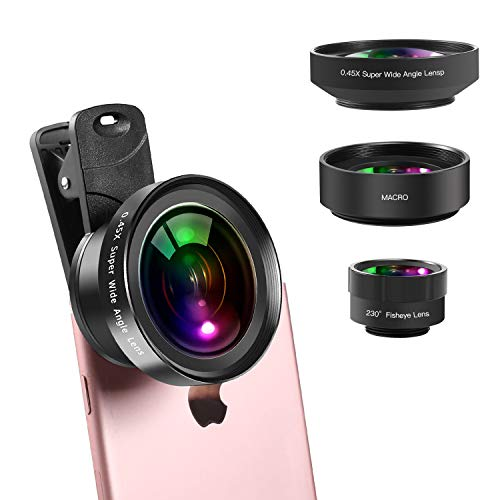 Phone Camera Lens Kit, 0.45x Wide Angle Lens,230°Fisheye Lens & 12.5X Macro Lens (Screwed Together) 3 in1,Clips-On Cell Phone Lens for iPhone/Samsung/Android/Most Smartphones and Tablets