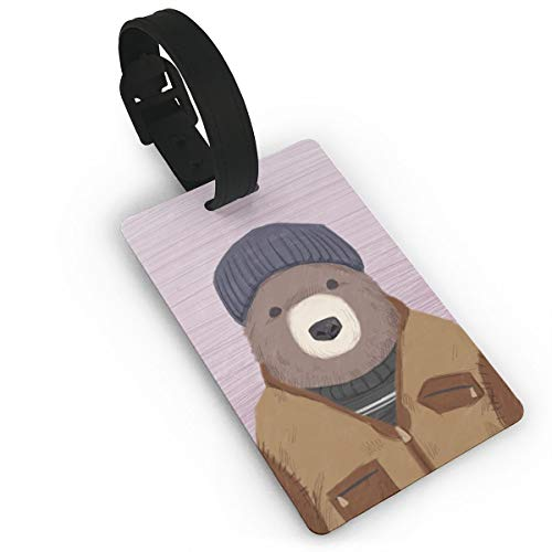 GKEEHR Luggage Tag Winter Bear ID Labels with Back Privacy Cover for Travel Bag Suitcase ()