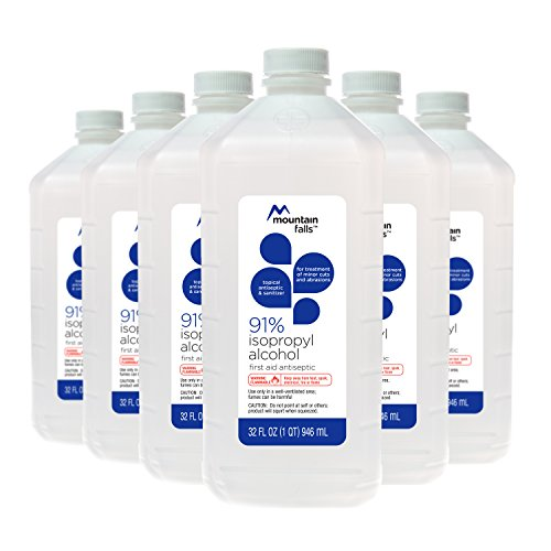Mountain Falls 91% Isopropyl Alcohol First Aid Antiseptic for Treatment of Minor Cuts and Scrapes, 32 Fluid Ounce (Pack of 6) by Mountain Falls