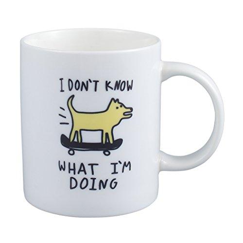 Neolith Novelty Cute Mugs I Don't Know What I'm Doing Mug 12 Oz Ceramic Coffee Mug with A Dog Skateboarding