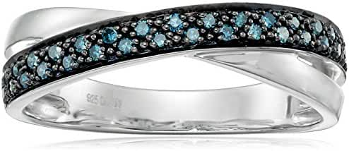 Rhodium-Plated-Silver Classics with Twist White Ring (1/10cttw, I1-I2 Clarity)