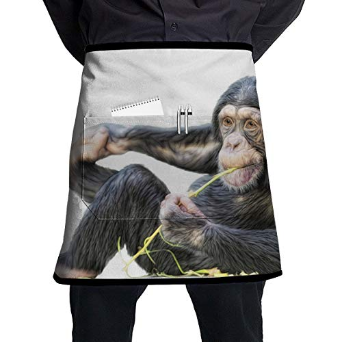 Nicokee Chef Aprons Monkeys Waist Tie Half Bistro Apron for Home Kitchen Cooking