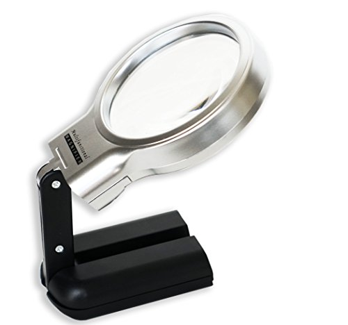 iMagniphy LED Hands Free Magnifying Glass with Stand - 2X + 4X. Best Portable Illuminated Magnifier For Reading, Inspection, Soldering, Needlework, Repair, Hobby & Crafts (Print Cart Battery)