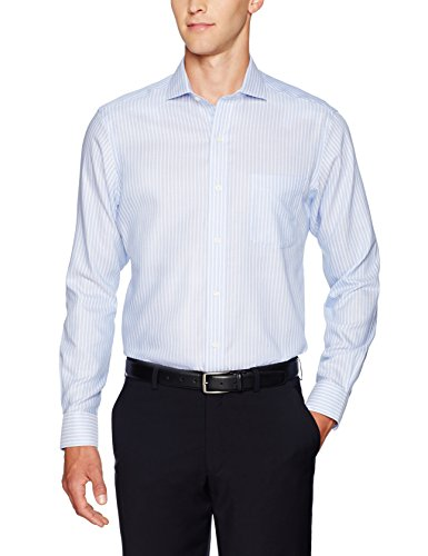 (BUTTONED DOWN Men's Classic Fit Cutaway-Collar Non-Iron Dress Shirt, Blue Textured Stripe, 20