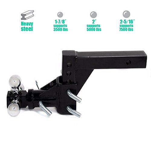 Triple 3 Ball Adjustable Swivel Hitch Mount Tow Trailer Fits 2