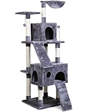Eono Essentials Multi-Level Cat Tree Cat Tower con Amaca Sisal Tiragraffi Interactive Toys Activity Center per Gattini Gatti e Animali Domestici Grigio 173CM/68''