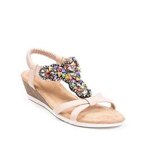 Ideal Shoes, Damen Sandalen Rose