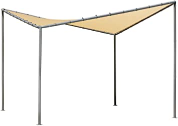 ShelterLogic 10 x 10 Pacifica Gazebo Canopy Charcoal Carbon Steel Frame and Marzipan Tan Water Resistant and Sun Protection Cover