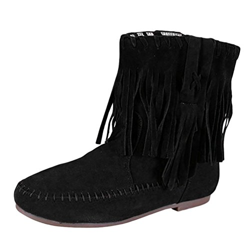 Anguang Women's Tassel Shoes Ladies Flat Mid-Calf Suede Slouch Boots Black (Thick Cotton) hrirhd