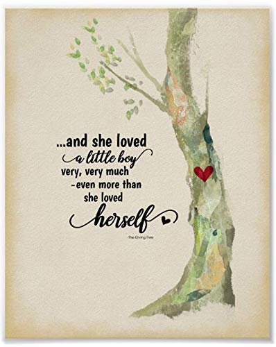 nigong146017 The Giving Tree Quote and She Loved A Little Boy Canvas Print Decor,12x16 inches. (And She Loved A Little Boy Quote)