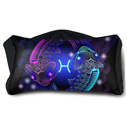 Voyage Travel Pillow Eye Mask 2 in 1 Portable Neck Support Scarf Constellation Zodiac Sign Pisces Ergonomic Naps Rest Pillows Sleeper Versatile for Airplanes Car Train Bus Home Office