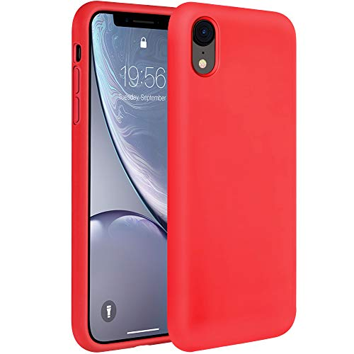 Miracase Liquid Silicone Case Compatible with iPhone XR 6.1 inch (2018), Gel Rubber Full Body Protection Shockproof Cover Case Drop Protection Case (Red) ()