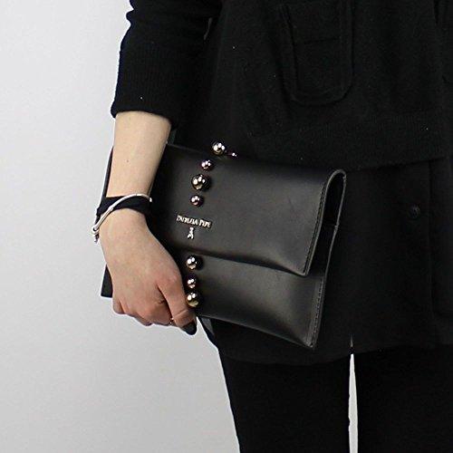 Pochette tracollina Patrizia Pepe in vera pelle con applicazioni - Cream black_black, schwarz