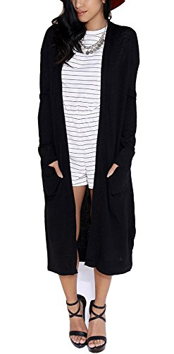 Eliacher Women Sweaters Open Front Lightweight Soft Knit Cardigan S-XXL (XL, Black6741) -