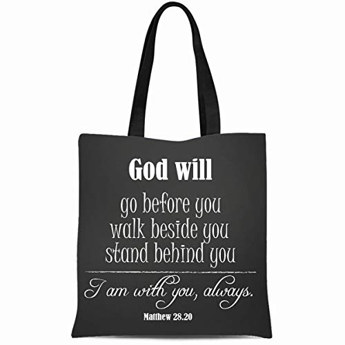 Ahawoso Canvas Tote Bag 14x16 Inches Inspirational God Quote God Will Go Before You Walk Beside You Stand Durable Reusable Custom Shopping Shoulder Grocery Bag ()