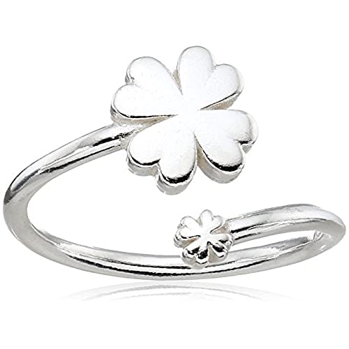 flower for four clover heart finger open product store leaf sterling crystal women new with girl rings silver