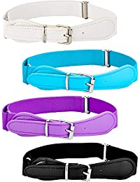 Tatuo 4 Pieces Kids Adjustable Elastic Belt with Leather Closure for Girls and Boys, Assorted Color (Color Set 4)