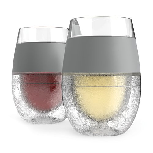Host Wine Freeze Cooling Cups, Gray (Set of 2)
