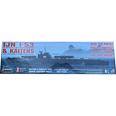 Lindberg IJN I-53 Submarine with Kaiten Torpedoes 1:72 Scale Plastic Model Kit: Toys & Games