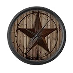 CafePress - Barnwood Texas Star - Large 17 Round Wall Clock, Unique Decorative Clock