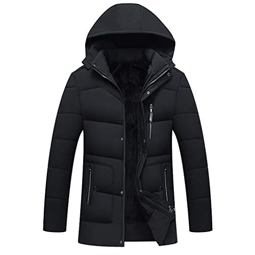 Dzinzuy Men's Jackets Winter Parka Thicken Coat Faux Fur Lined Quilted Outerwear Warm Casual Hooded with Removable Hood Black